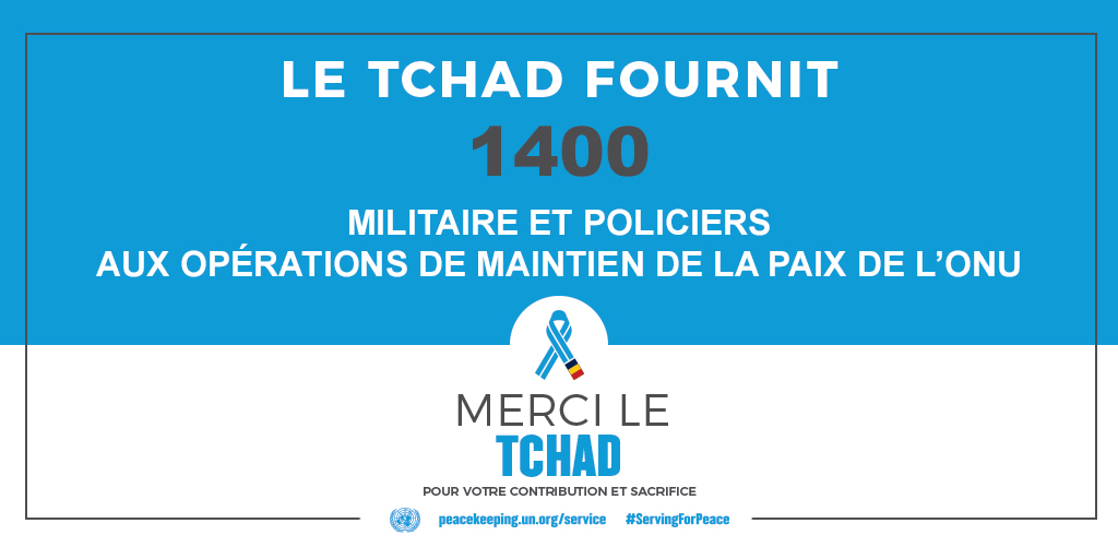 Le Tchad fournit 1400 militaires et policiers aux opérations de maintien de la paix de l'ONU