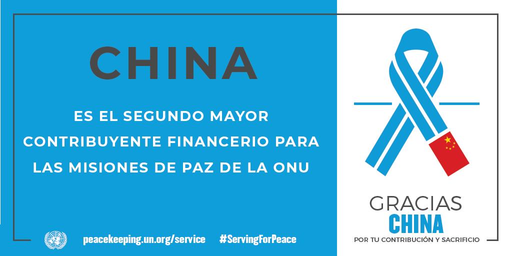 China es el segundo mayor contribuyente financiero para las misiones de la paz de la ONU.