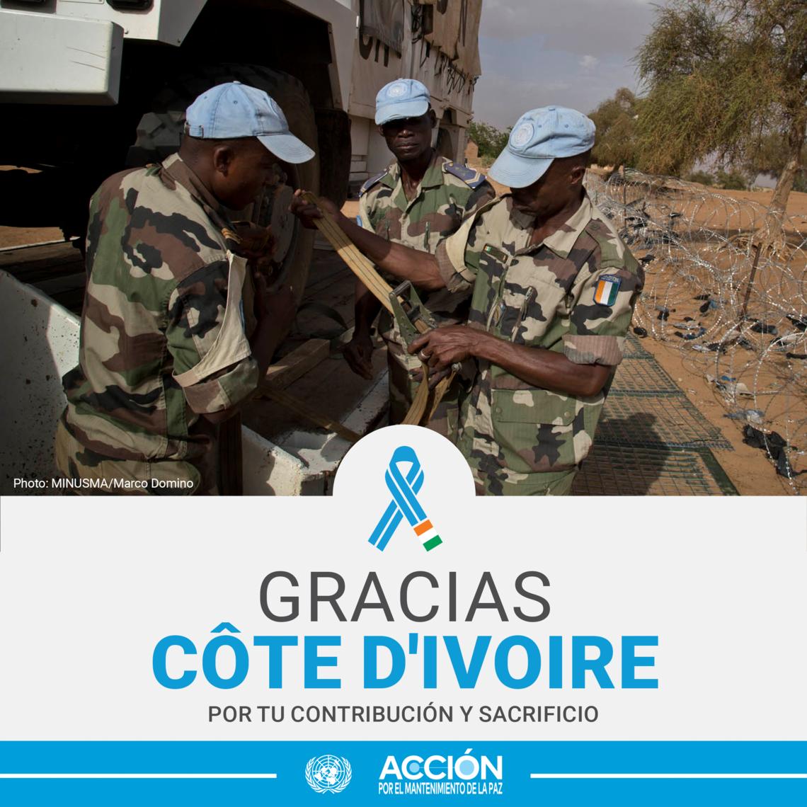 Tarjeta de tres cascos azules de Côte d'Ivoire y el texto: Gracias, Côte d'Ivoire, por tu servicio y sacrificio.