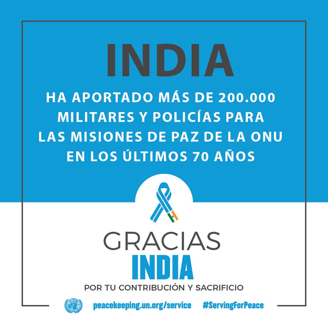 India ha aportado más de  200.000 militares y policías para las misiones de paz de la ONU