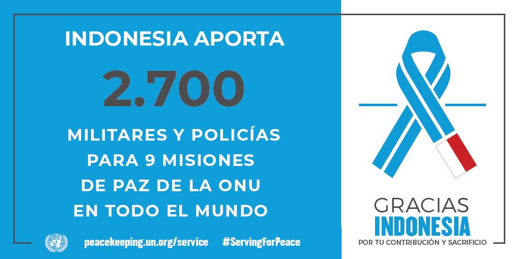 Indonesia aporta 2700 militares y policías para las misiones de la paz de la ONU.