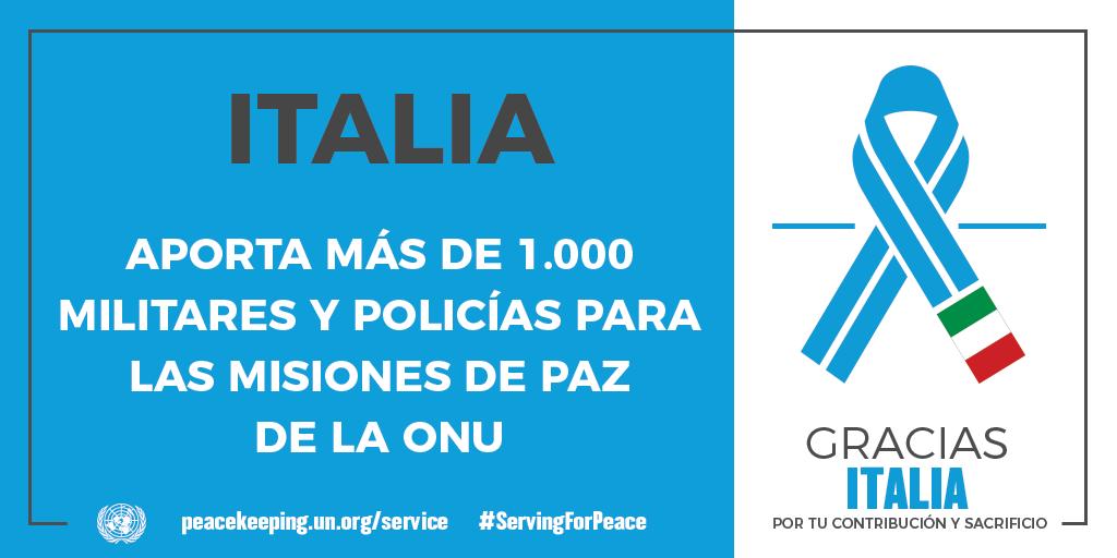 Italia aporta más de 1000 militares y policías para las misiones de la paz de la ONU.