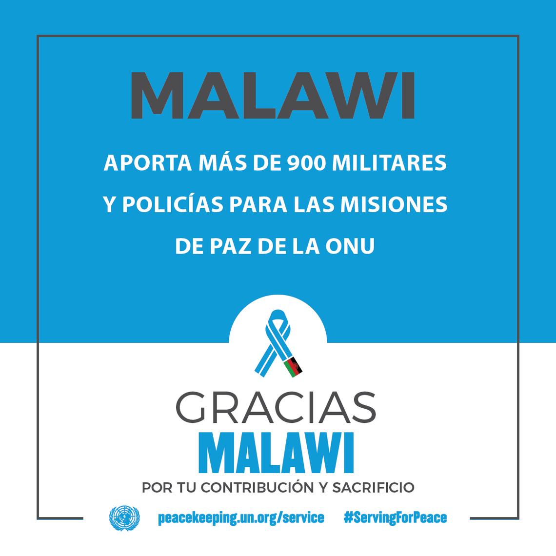 Malawi aporta más de 900 militares y policías para las Misiones de Paz de la ONU