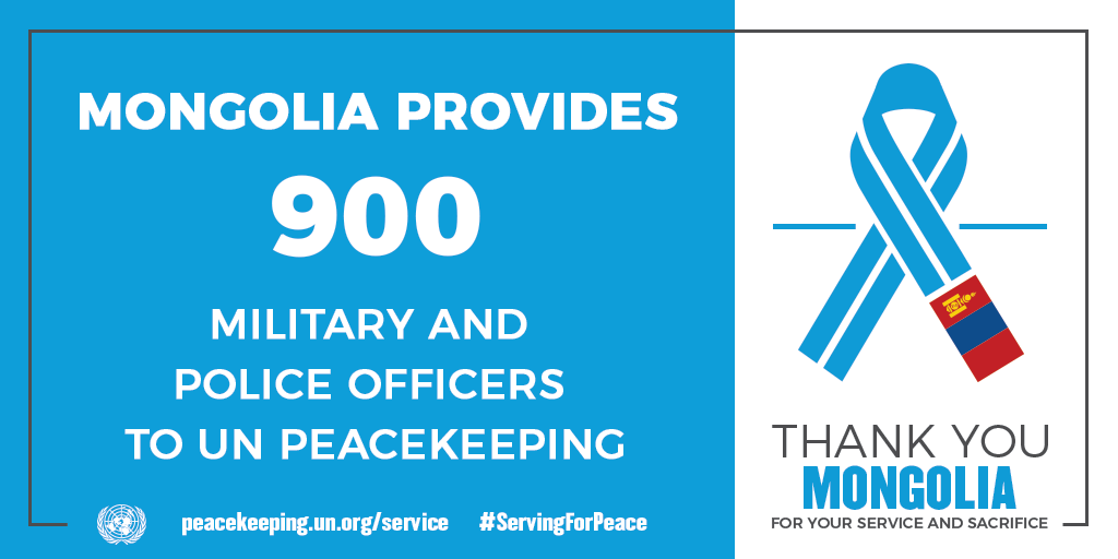 Mongolia provides 900 military and police officers to UN peacekeeping
