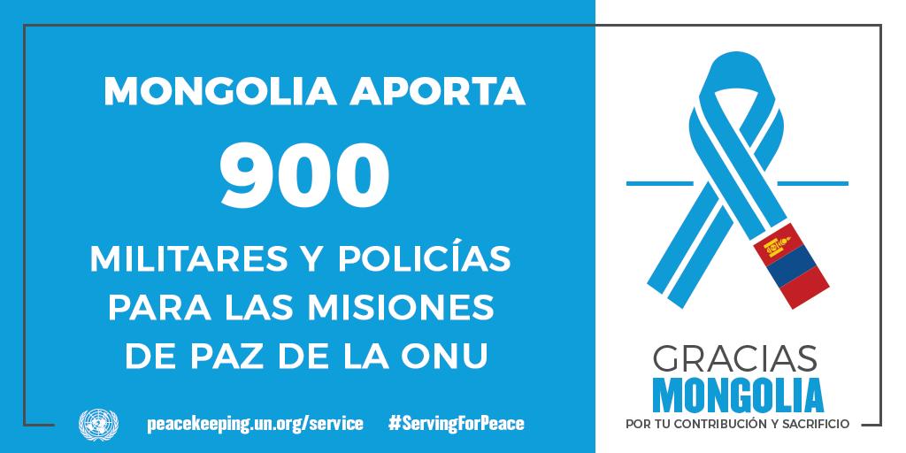 Mongolia aporta 900 militares y policías a las misiones de la paz de la ONU.