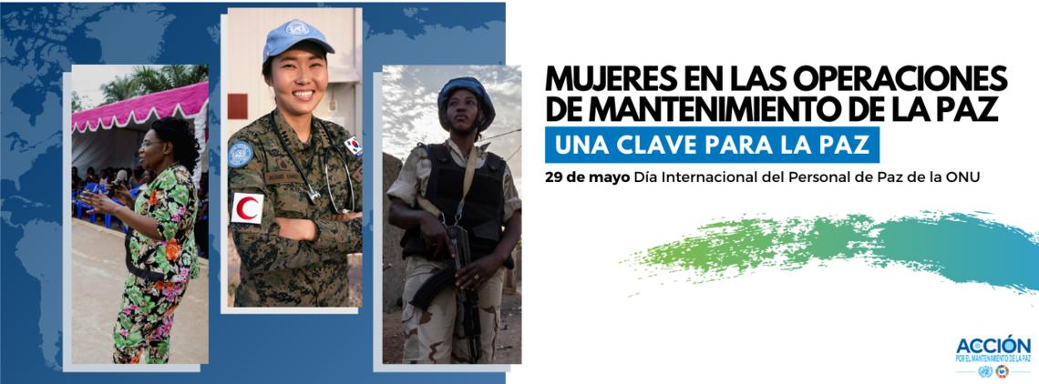 """Tarjeta """"Mujeres en las operaciones de manternimiento de la paz"""" con la imagen de 3 mujeres."""