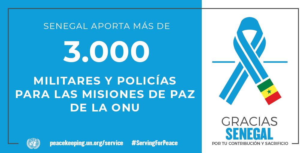 Senegal aporta 3000 militares y policías a las operaciones de mantenimiento de la paz de la ONU.