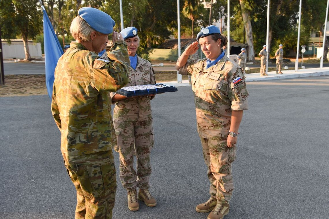Female Slovakian peacekeepers being awarded for their contributions during a medal parade ceremony to the UN Peacekeeping Force in Cyprus (UNFICYP)