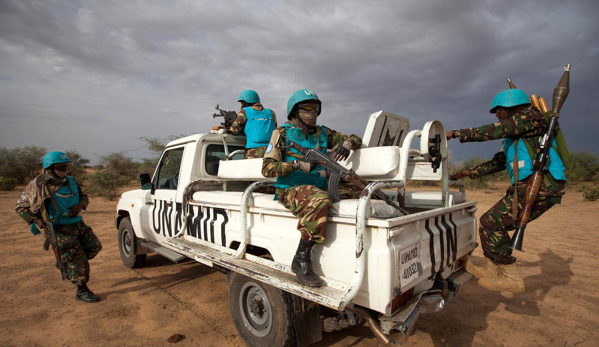 UNAMID troops conduct a routine patrol.