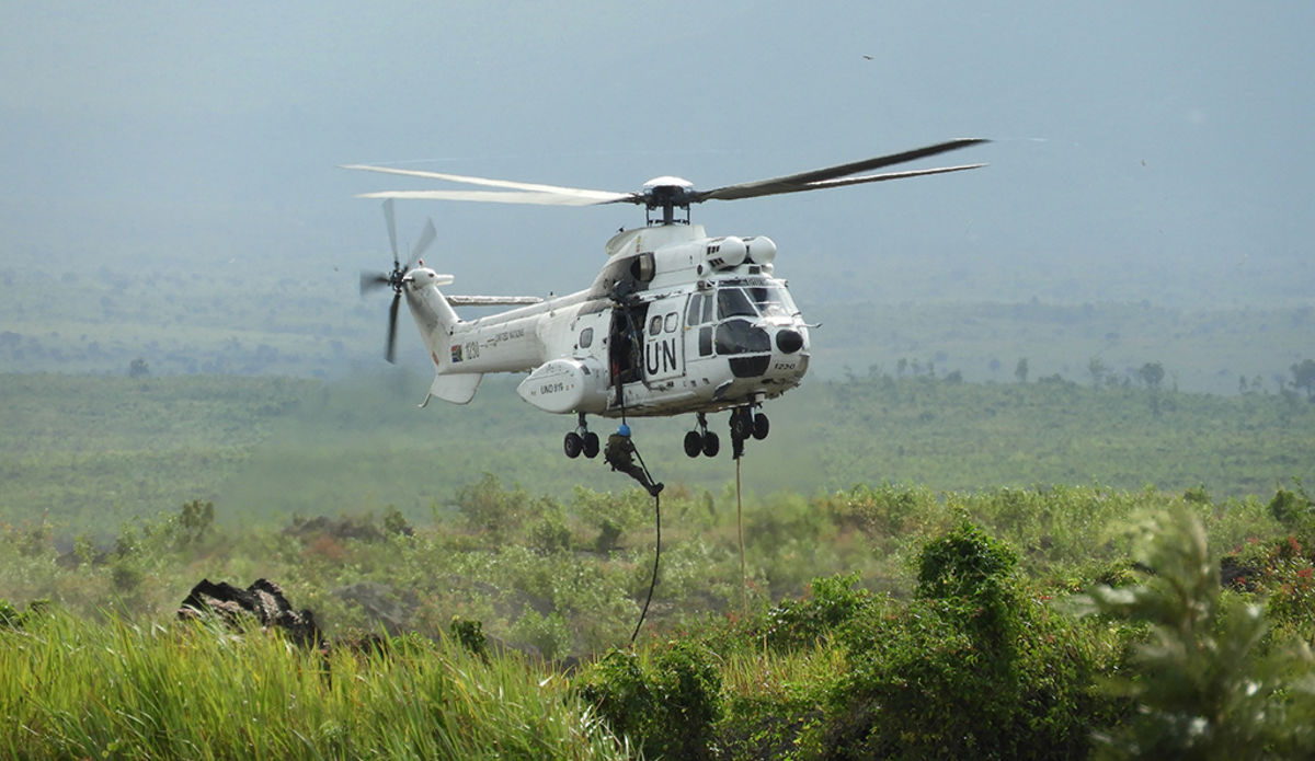 MONUSCO Special Forces conducting a training in fast-roping for future aircraft operations.