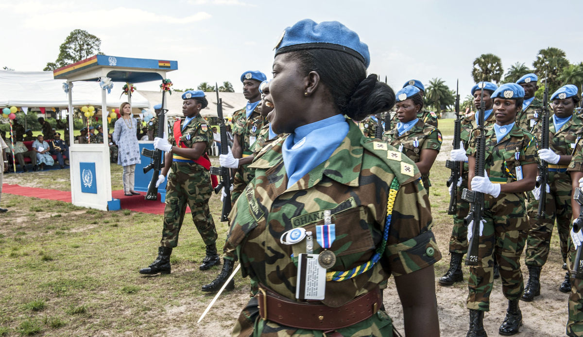 Ghanaian troops at a medal parade in the UN Mission in Liberia