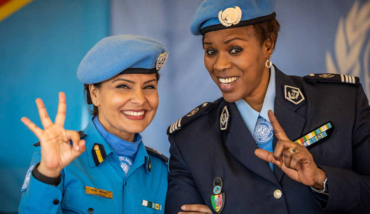 Women peacekeepers from the Senegalese contingent serving with MONUSCO