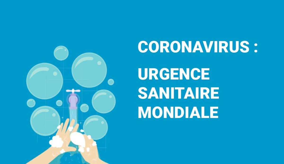 Affiche avec une illustration d'une personne se lavant les mains, avec pour titre : Coronavirus : urgence sanitaire mondiale