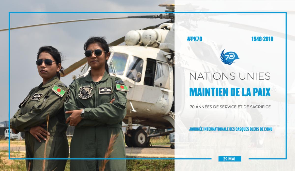 En 2017, le Bangladesh a envoyé deux femmes pilotes de combat à la mission de l'ONU en République démocratique du Congo (MONUSCO), les capitaines d'aviation Nayma Haque et Tamanna-E-Lutfi. Photo © MONUSCO