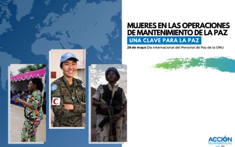 Tarjeta del día con 3 mujeres en operaciones de mantenimiento de la paz