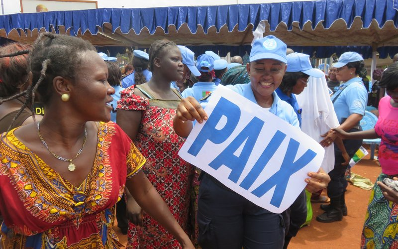 Peacekeepers attend an event with women from the Central African Republic calling for peace