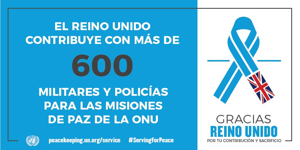 El Reino Unido aporta 600 militares y policías a las operaciones de mantenimiento de la paz de la ONU.