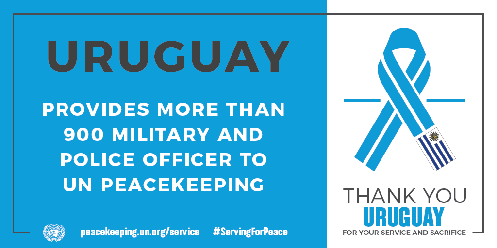Uruguay provides more than 900 uniformed peacekeepers