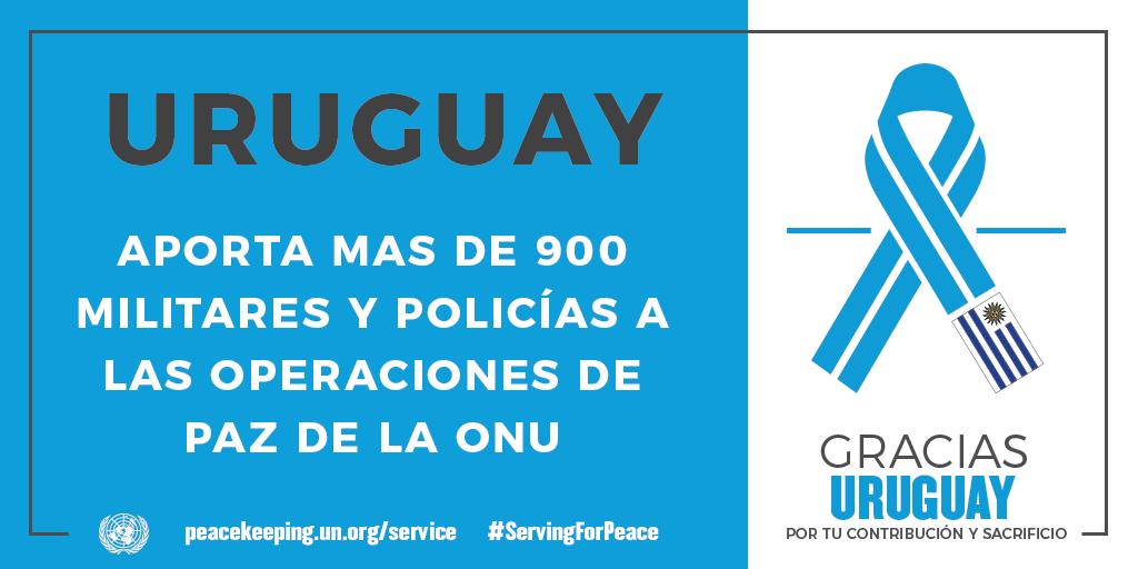 El Uruguay aporta 900 militares y policías a las operaciones de mantenimiento de la paz de la ONU.
