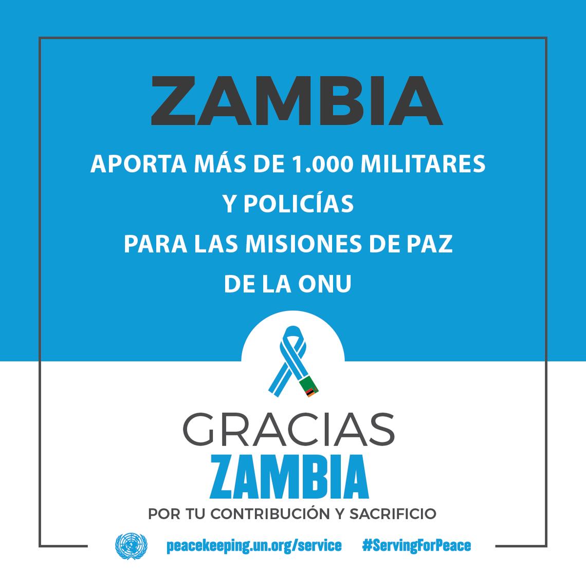 Zambia aporta más de 1000 militares y policías para las misiones de paz